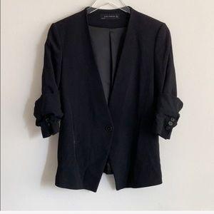 Zara Single Button Black Reversible Sleeve Jacket